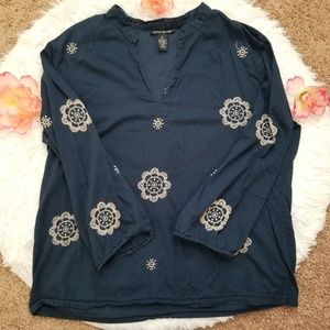 Lucky Brand navy blue embroidered blouse